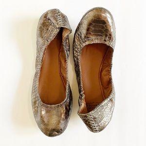 NEW Lucky Brand Metallic Snakeskin Leather Flats